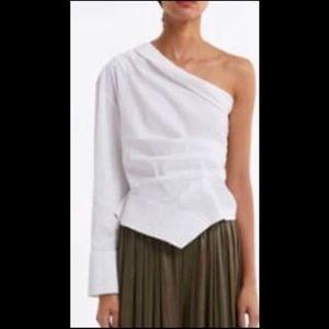 Zara Asymmetrical Linen Blouse